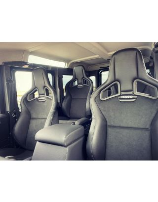 Front + 2nd Row RECARO CS 4 seat kit + Cubby Fit Land Rover Defender TDCI 110