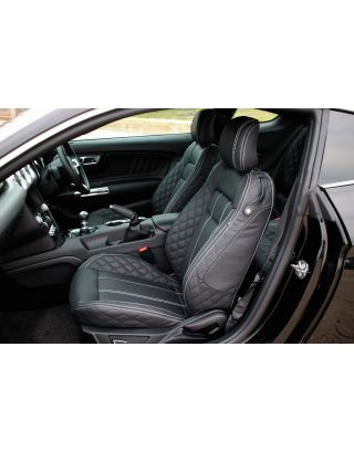 Black leather+ PVC front & rear seat cover kit for 2015 on Ford Mustang Fastback