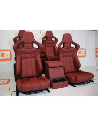 Front+ 2nd Row Corbeau seats Burgundy Leather Cubby Fits Land Rover Defender 110