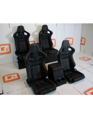 Front + 2nd Row Corbeau Leather seats + Cubby Fits Land Rover Defender TDCI 110