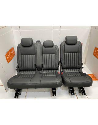 TDCI black fluted 60/40 Leather Seat Retrim Fits Land Rover Defender 110