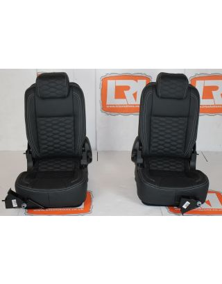 Full Leather Honeycomb Stitch Pair 3rd Row tumble down TDCI Seats Fits Land Rover Defender 90/110