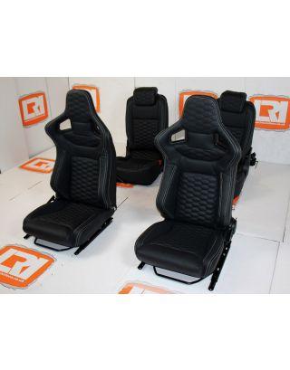 LRI black leather HEX stitch 4 seat interior fit Land Rover Defender 90 TDCI
