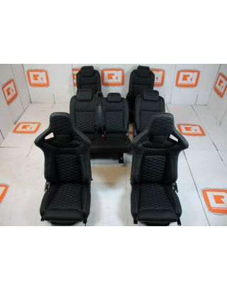 LRI black leather HEX stitch 7 seat interior fit Land Rover Defender 110 TDCI