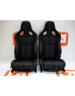 LRI full leather Recaro pair of front seats Tip up bases fit Land Rover Defender