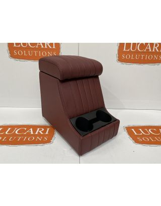 Burgundy fluted leather high arm rest cubby box Fits Land Rover Defender 90 110