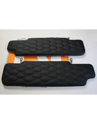 Black Leather HONEYCOMB stitch sun visor pair white stitch fit Land Rover Defender 90/110