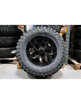 "4X XTR1 gloss black alloy wheel 18"" Cooper STT Pro tyre Fits Land Rover Defender"