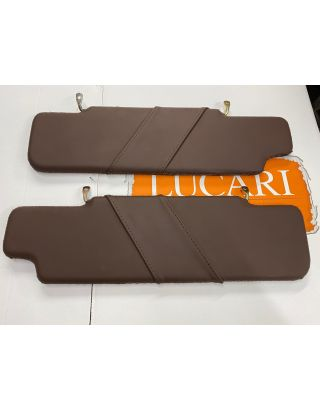 Chocolate Leather roof lining sun Visors pair Fit Land Rover Defender 90/110