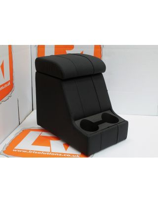 LRI black stitch LEATHER arm rest cubby box +cup holders Fit Land Rover Defender