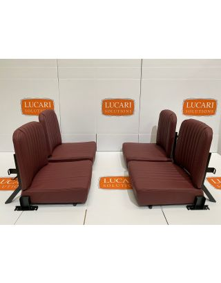 4X Burgundy fluted leather rear Inward Facing Seats Fit Land Rover Defender