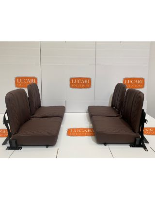 4 chocolate quilted Leather Rear Inward Facing Seats Fits Land Rover Defender