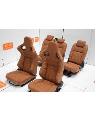 Tan leather 5 seat interior front middle seats Fit Land Rover Defender 110 TDCI