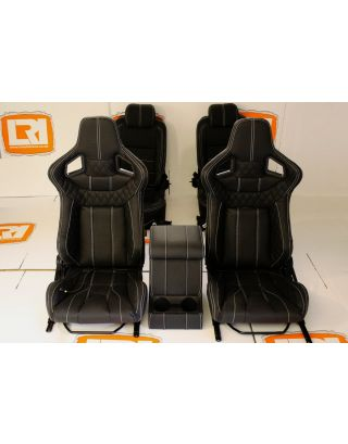 LRI Leather heated Corbeau front +rear seats + cubby Fits Land Rover Defender 90