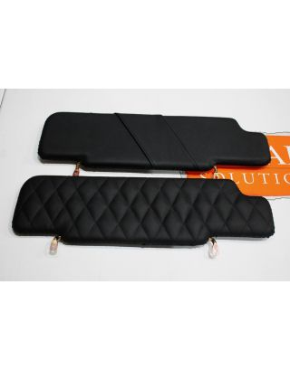 Black Leather quilted sun visor pair Black Stitch fit Land Rover Defender 90/110