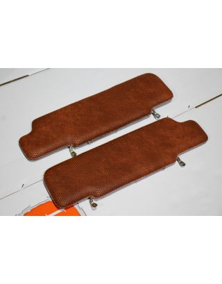 Tan basket weave & leather roof lining sun visors pair fit Land Rover Defender