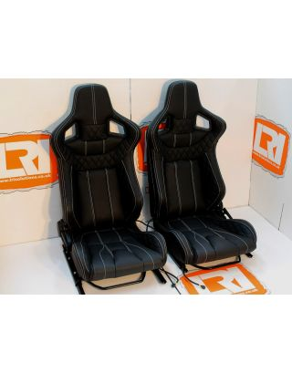 LRI leather 2-Stage heated front Corbeau high base seats Fit Land Rover Defender