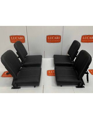 4X Full black grained leather rear Inward Facing Seats Fit Land Rover Defender