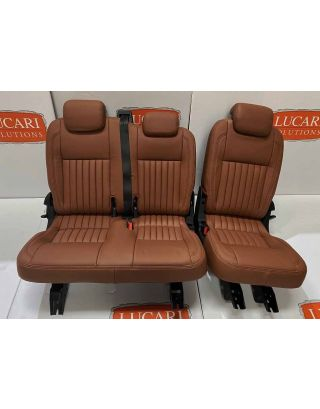 TDCI 60/40 Full Tan Leather fluted Seat Retrim Fits Land Rover Defender 110