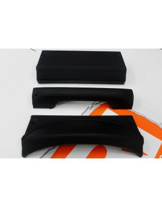 Black stitch Leather PUMA dash trims pod handle & panel Fits Land Rover Defender 90 110