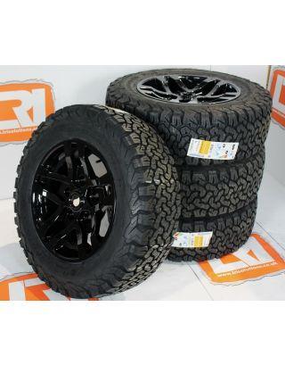 "4X XTR1 gloss black alloy wheels 18"" Black Out BFG KO2 Fits Land Rover Defender  90 110"