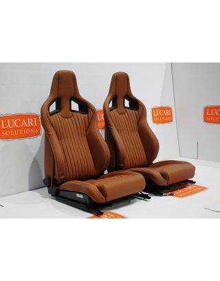 Tan fluted leather Recaro pair front seats Tip up bases fit Land Rover Defender