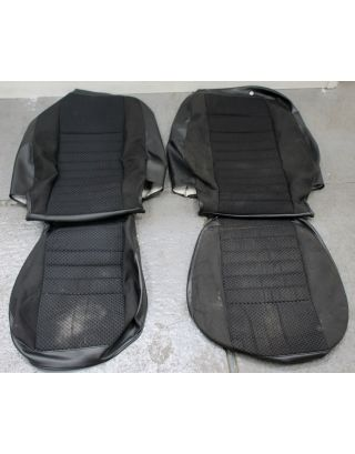 P2) USED black cloth Land Rover Defender TDCI front seat covers 90 110 retrim