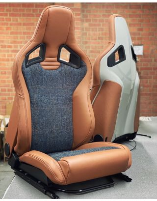 Tan leather Recaro pair front seats with Harris Tweed fit Land Rover Defender