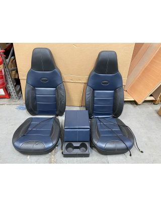 USED BLUE PREMIUM SEAT COVER & FOAM KIT +cubby box Fits TDCI Land Rover Defender